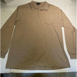 Nautica Sz XL Beige L/S Cotton Polo
